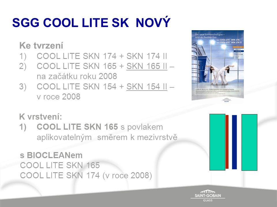 SGG COOL LITE SK NOVÝ Ke tvrzení 1)COOL LITE SKN 174 + SKN 174 II 2)COOL LITE SKN 165 + SKN 165 II – na začátku roku 2008 3)COOL LITE SKN 154 + SKN 15