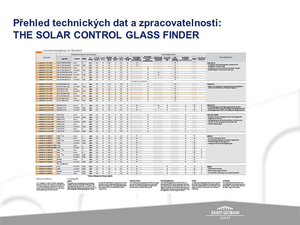Přehled technických dat a zpracovatelnosti: THE SOLAR CONTROL GLASS FINDER