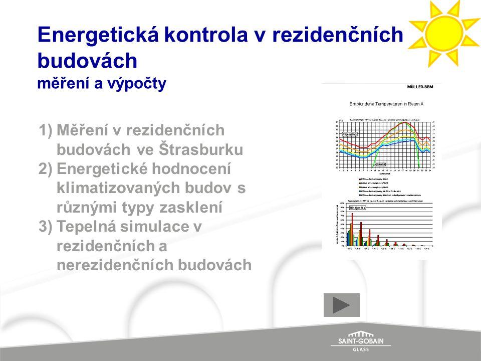 Energetická kontrola v rezidenčních budovách měření a výpočty 1)Měření v rezidenčních budovách ve Štrasburku 2)Energetické hodnocení klimatizovaných b