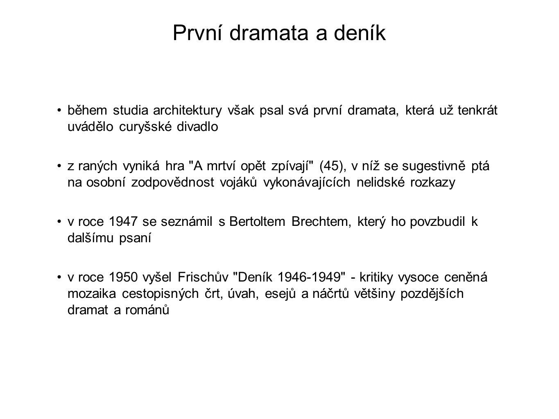 První dramata a deník během studia architektury však psal svá první dramata, která už tenkrát uvádělo curyšské divadlo z raných vyniká hra