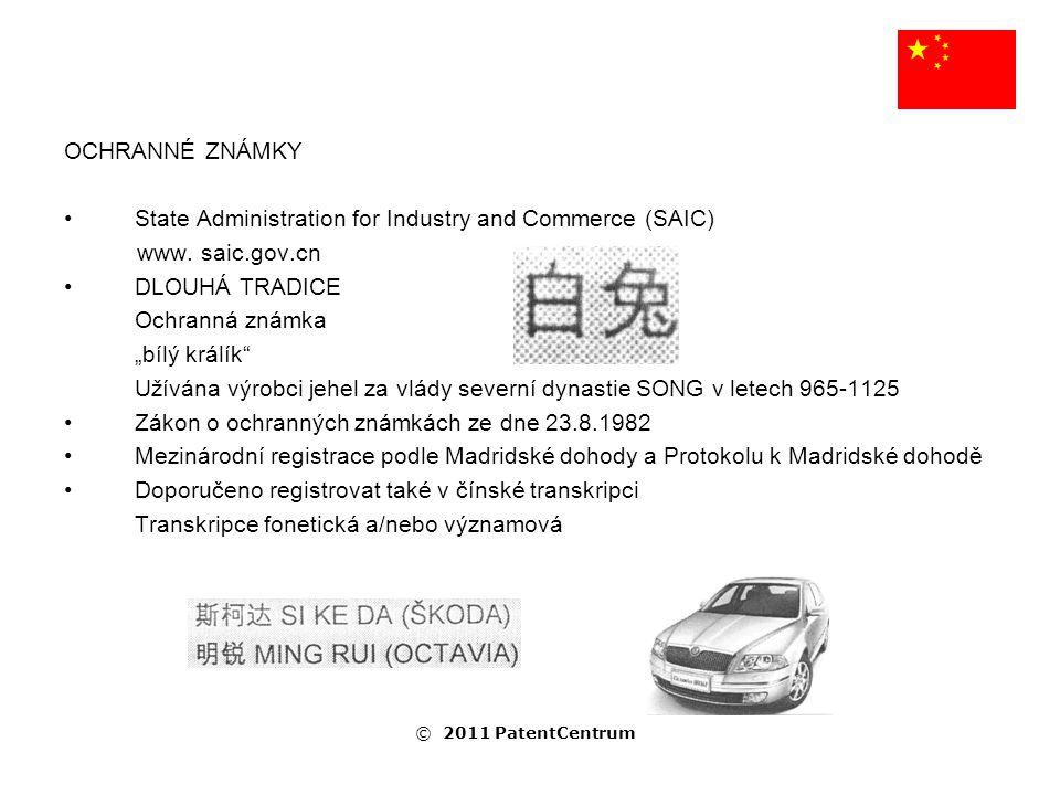 """OCHRANNÉ ZNÁMKY APPLE Computers: """"Ping Guo (překlad """"jablko ) MICROSOFT: """"Wei Ruan (překlad """"micro a """"soft ) PALMOLIVE: """"Zong Lan (překlad """"palma a """"oliva ) PINYIN Čínská fonetická abeceda v latince, může existovat stejný přepis pro více pojmů MEI YAN © 2011 PatentCentrum"""