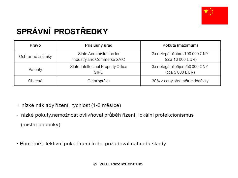 SPRÁVNÍ PROSTŘEDKY PrávoPříslušný úřadPokuta (maximum) Ochranné známky State Administration for Industry and Commerse SAIC 3x nelegální obrat/100 000 CNY (cca 10 000 EUR) Patenty State Intellectual Property Office SIPO 3x nelegální příjem/50 000 CNY (cca 5 000 EUR) ObecněCelní správa30% z ceny předmětné dodávky + nízké náklady řízení, rychlost (1-3 měsíce) - nízké pokuty,nemožnost ovlivňovat průběh řízení, lokální protekcionismus (místní pobočky) Poměrně efektivní pokud není třeba požadovat náhradu škody © 2011 PatentCentrum