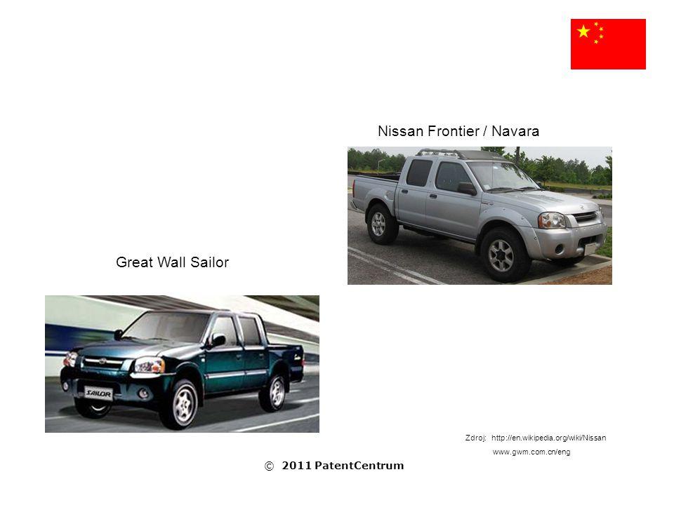 Nissan Frontier / Navara Great Wall Sailor Zdroj: http://en.wikipedia.org/wiki/Nissan www.gwm.com.cn/eng © 2011 PatentCentrum