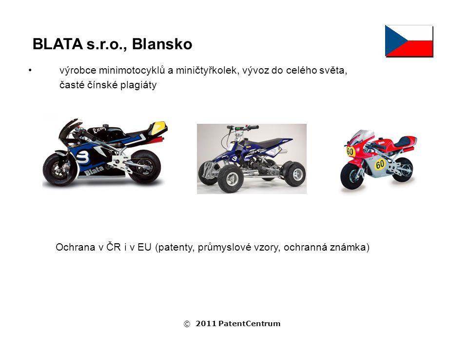 výrobce minimotocyklů a miničtyřkolek, vývoz do celého světa, časté čínské plagiáty BLATA s.r.o., Blansko Ochrana v ČR i v EU (patenty, průmyslové vzory, ochranná známka) © 2011 PatentCentrum
