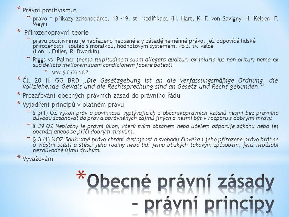 * Právní positivismus * právo = příkazy zákonodárce, 18.-19. st kodifikace (H. Hart, K. F. von Savigny, H. Kelsen, F. Weyr) * Přirozenoprávní teorie *
