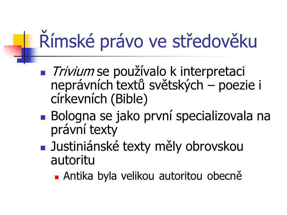 Římské právo ve středověku Trivium se používalo k interpretaci neprávních textů světských – poezie i církevních (Bible) Bologna se jako první speciali