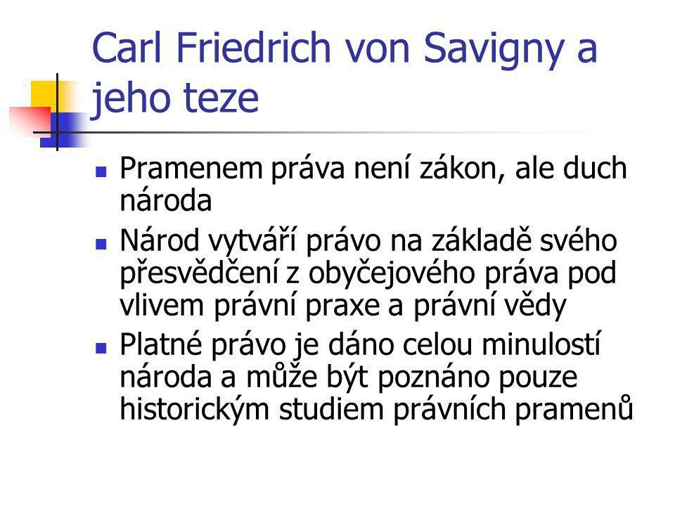 Carl Friedrich von Savigny a jeho teze Pramenem práva není zákon, ale duch národa Národ vytváří právo na základě svého přesvědčení z obyčejového práva