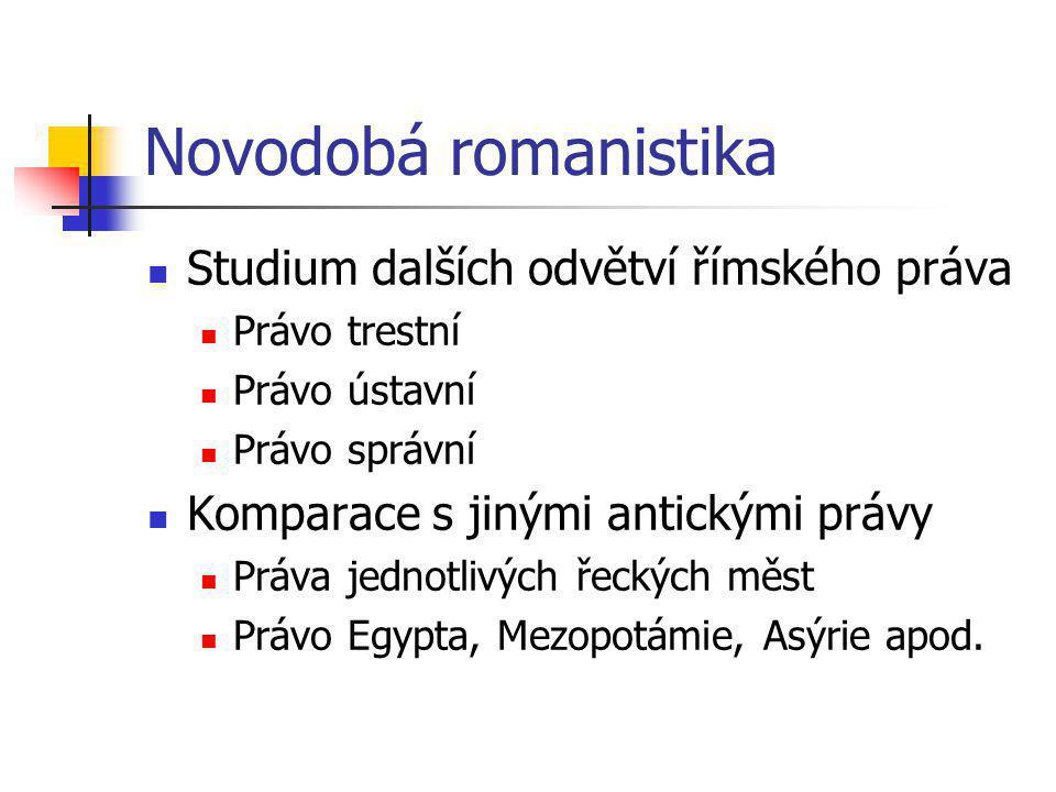Novodobá romanistika Studium dalších odvětví římského práva Právo trestní Právo ústavní Právo správní Komparace s jinými antickými právy Práva jednotl