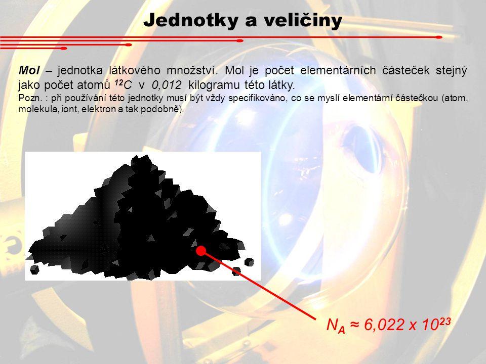 Jednotky a veličiny Mol – jednotka látkového množství. Mol je počet elementárních částeček stejný jako počet atomů 12 C v 0,012 kilogramu této látky.