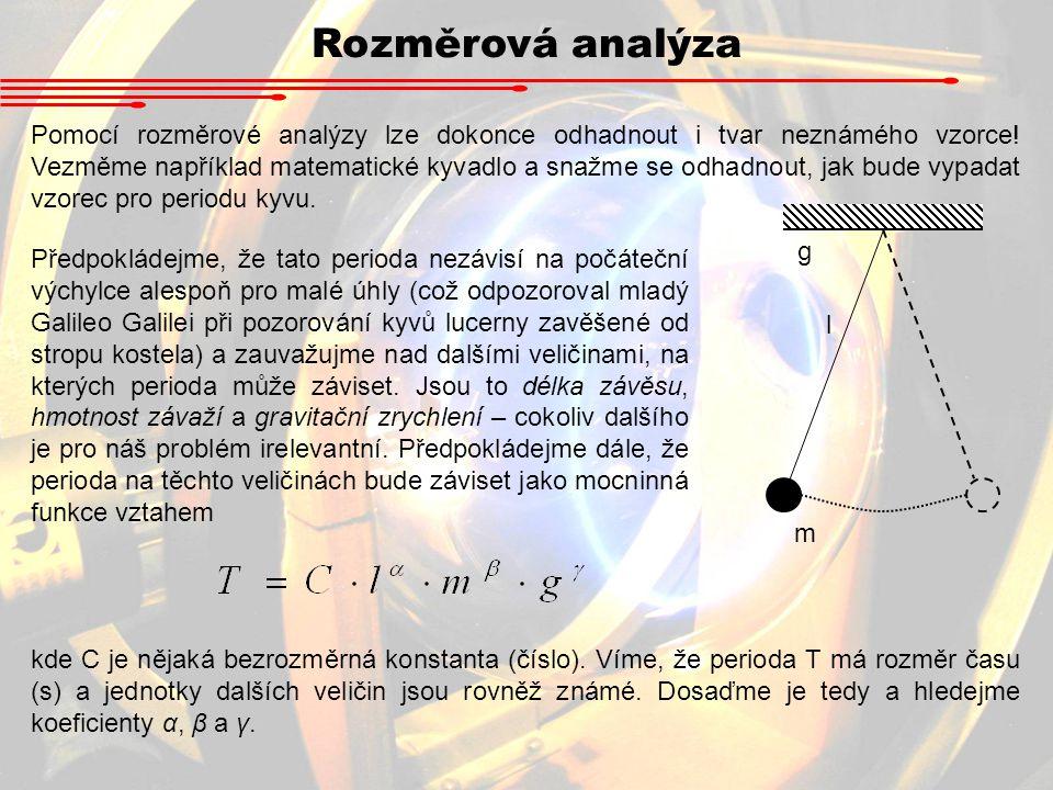 Pomocí rozměrové analýzy lze dokonce odhadnout i tvar neznámého vzorce! Vezměme například matematické kyvadlo a snažme se odhadnout, jak bude vypadat