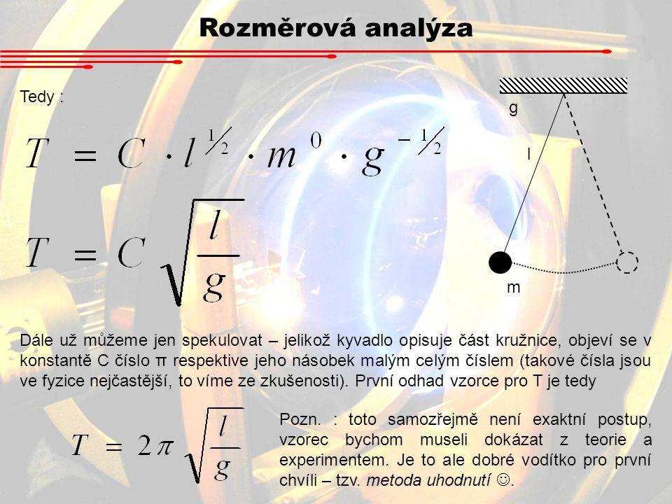Rozměrová analýza l m g Tedy : Dále už můžeme jen spekulovat – jelikož kyvadlo opisuje část kružnice, objeví se v konstantě C číslo π respektive jeho