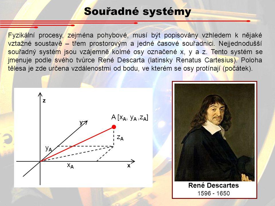 Souřadné systémy Fyzikální procesy, zejména pohybové, musí být popisovány vzhledem k nějaké vztažné soustavě – třem prostorovým a jedné časové souřadn