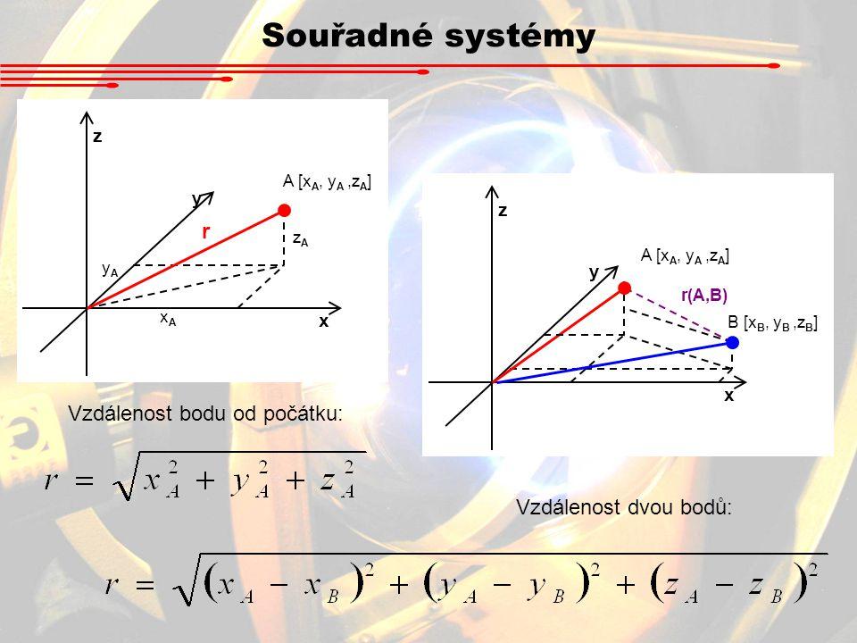 Souřadné systémy x y z A [x A, y A,z A ] xAxA yAyA zAzA r Vzdálenost bodu od počátku: Vzdálenost dvou bodů: x y z A [x A, y A,z A ] B [x B, y B,z B ]