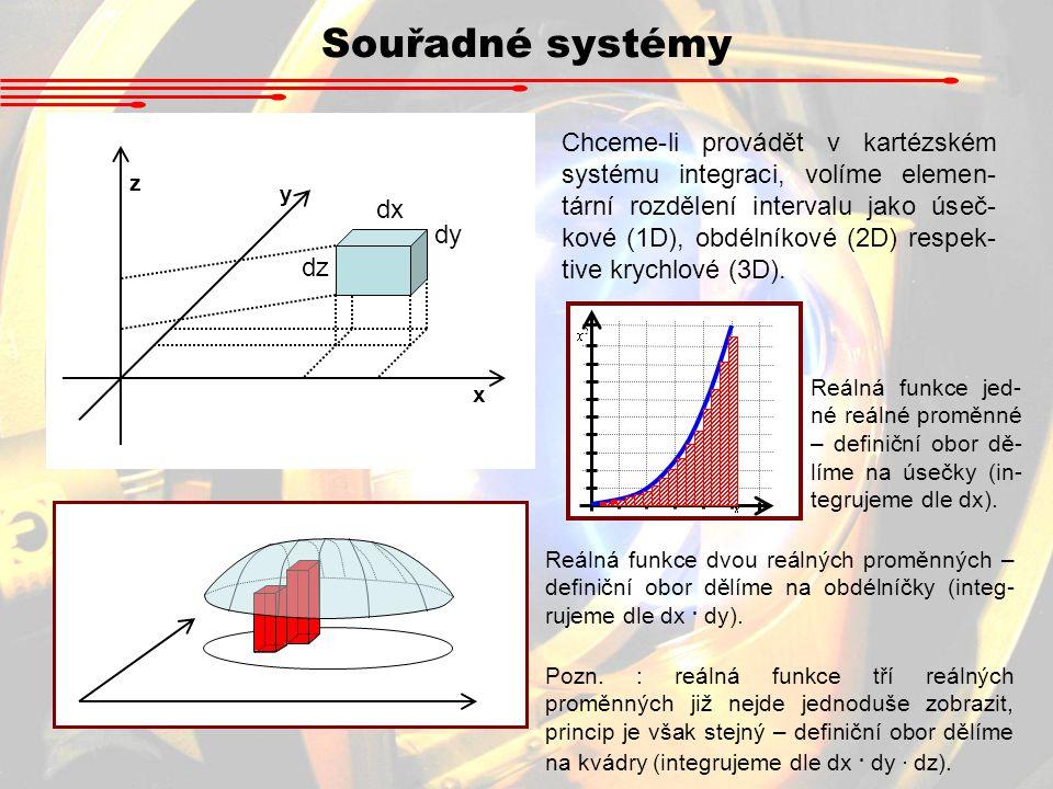 Souřadné systémy x y z dx dy dz Chceme-li provádět v kartézském systému integraci, volíme elemen- tární rozdělení intervalu jako úseč- kové (1D), obdé