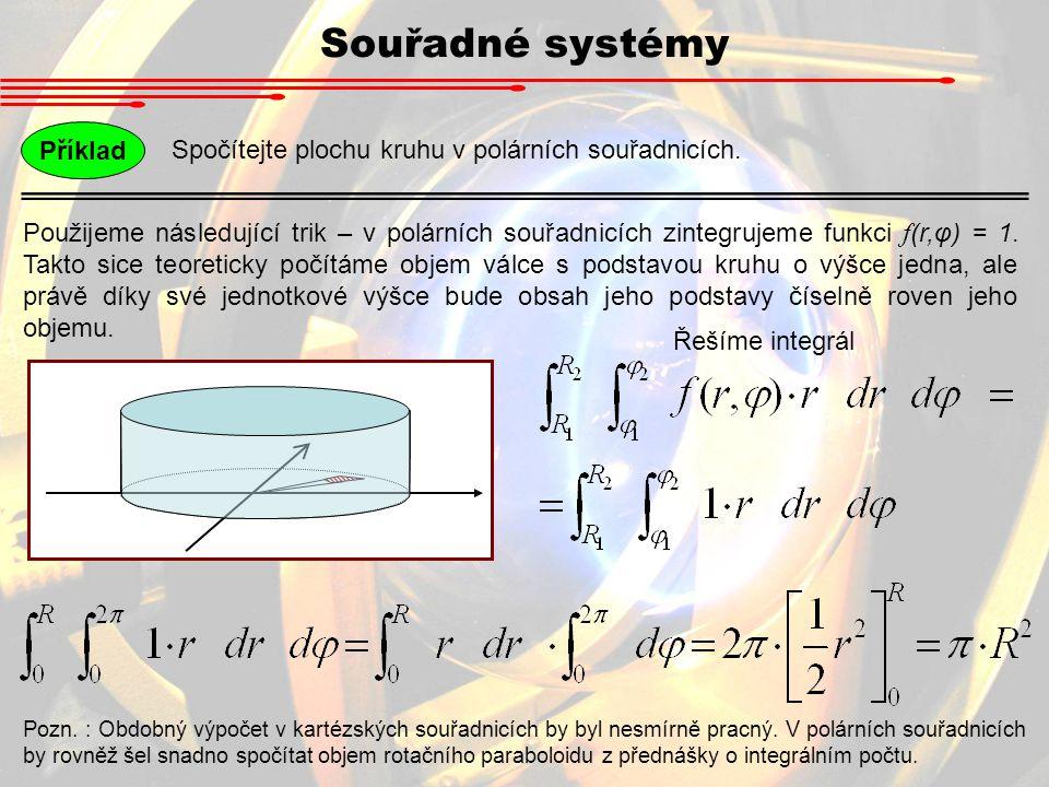 Souřadné systémy Spočítejte plochu kruhu v polárních souřadnicích. Příklad Použijeme následující trik – v polárních souřadnicích zintegrujeme funkci f