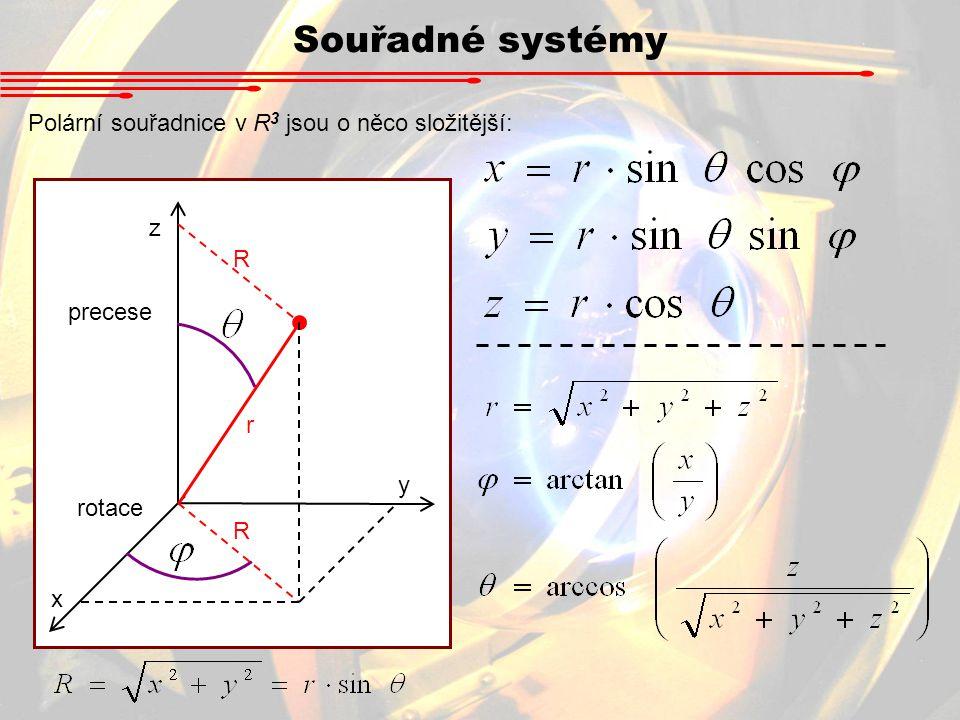 Souřadné systémy Polární souřadnice v R 3 jsou o něco složitější: x y z precese rotace r R R