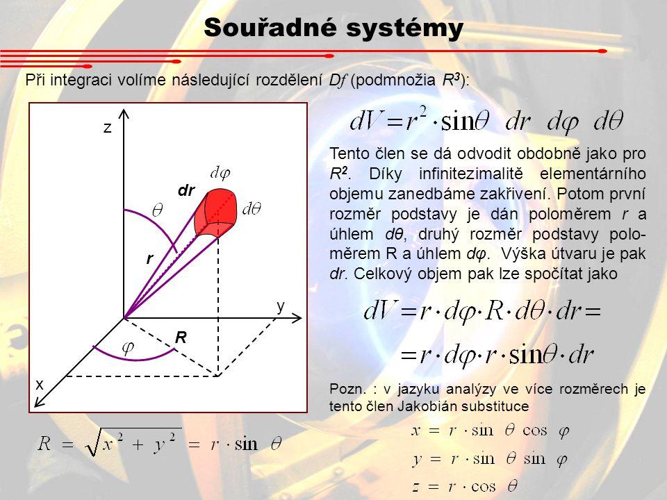 Souřadné systémy Při integraci volíme následující rozdělení D f (podmnožia R 3 ): Tento člen se dá odvodit obdobně jako pro R 2. Díky infinitezimalitě