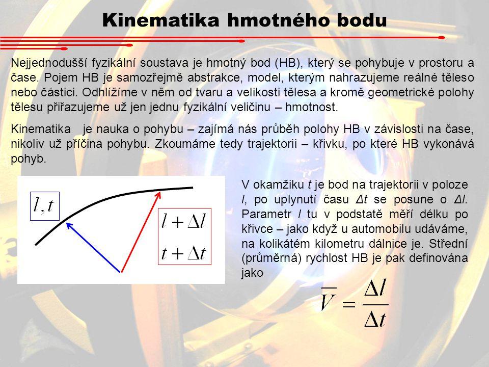 Kinematika hmotného bodu Nejjednodušší fyzikální soustava je hmotný bod (HB), který se pohybuje v prostoru a čase. Pojem HB je samozřejmě abstrakce, m