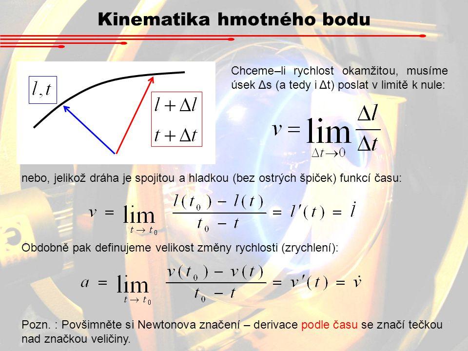 Chceme–li rychlost okamžitou, musíme úsek Δs (a tedy i Δt) poslat v limitě k nule: nebo, jelikož dráha je spojitou a hladkou (bez ostrých špiček) funk