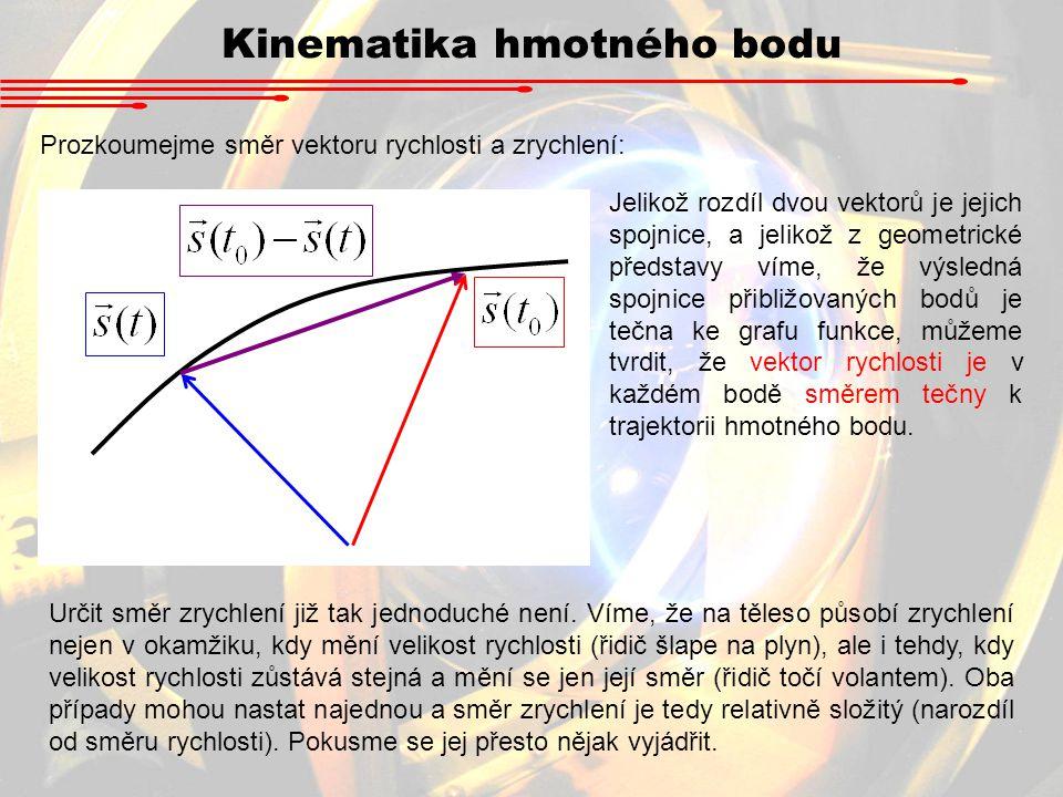 Prozkoumejme směr vektoru rychlosti a zrychlení: Jelikož rozdíl dvou vektorů je jejich spojnice, a jelikož z geometrické představy víme, že výsledná s