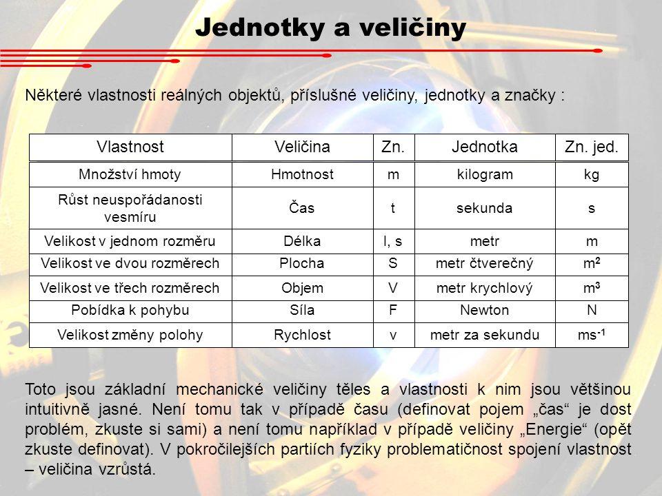 Jednotky a veličiny Některé vlastnosti reálných objektů, příslušné veličiny, jednotky a značky : VlastnostVeličinaZn.JednotkaZn. jed. Množství hmotyHm