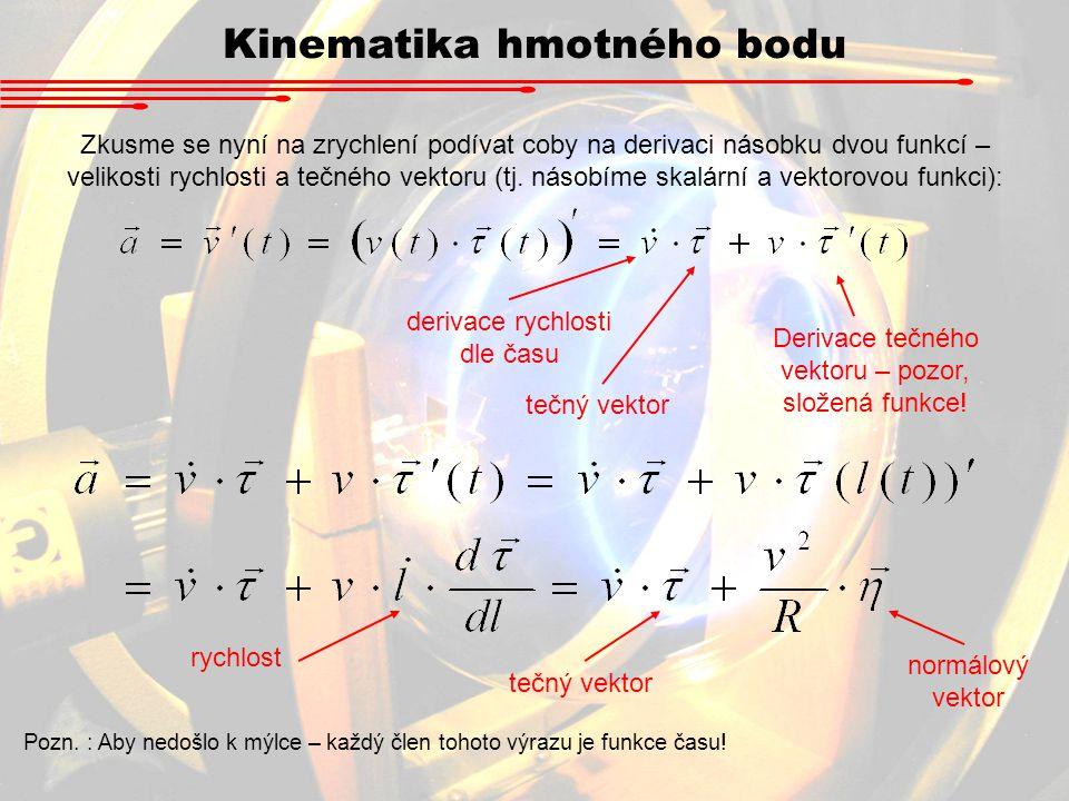 derivace rychlosti dle času tečný vektor Derivace tečného vektoru – pozor, složená funkce! rychlost normálový vektor Zkusme se nyní na zrychlení podív