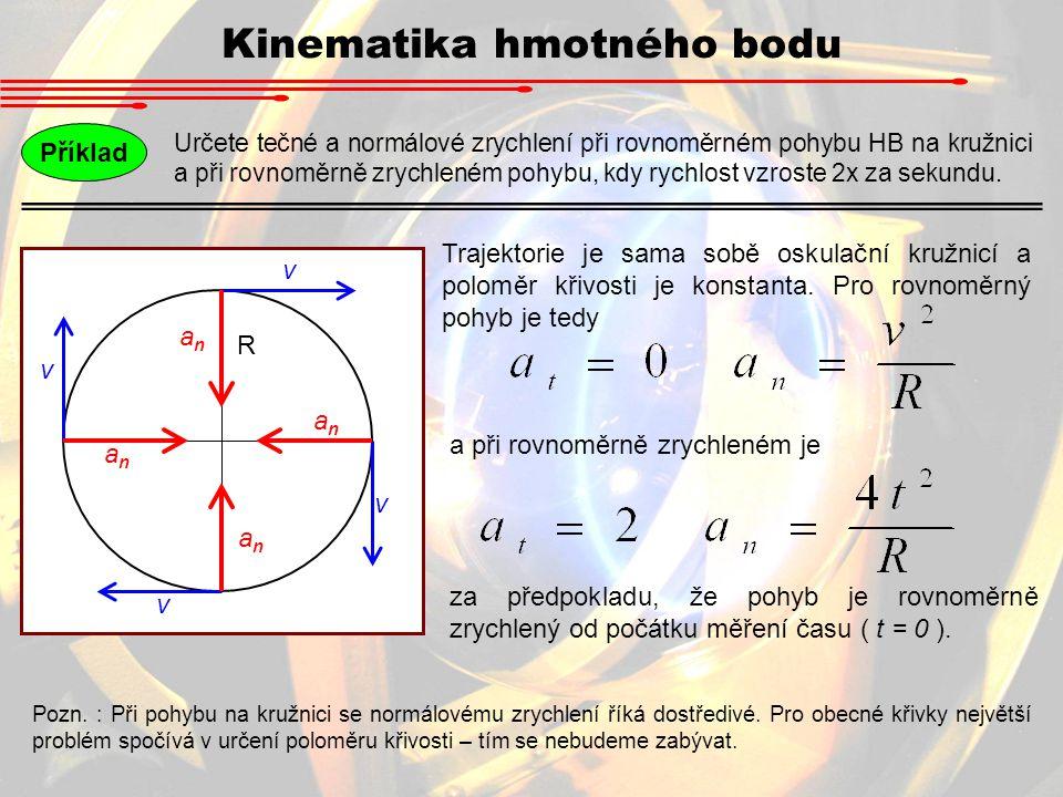 Určete tečné a normálové zrychlení při rovnoměrném pohybu HB na kružnici a při rovnoměrně zrychleném pohybu, kdy rychlost vzroste 2x za sekundu. Příkl