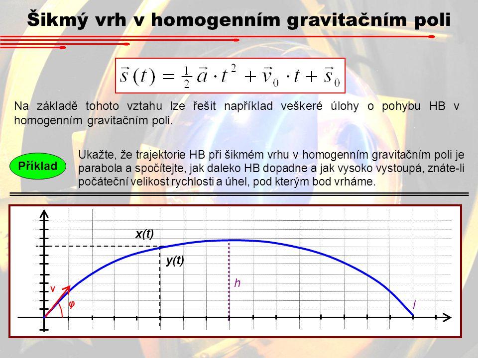 Šikmý vrh v homogenním gravitačním poli Na základě tohoto vztahu lze řešit například veškeré úlohy o pohybu HB v homogenním gravitačním poli. Ukažte,