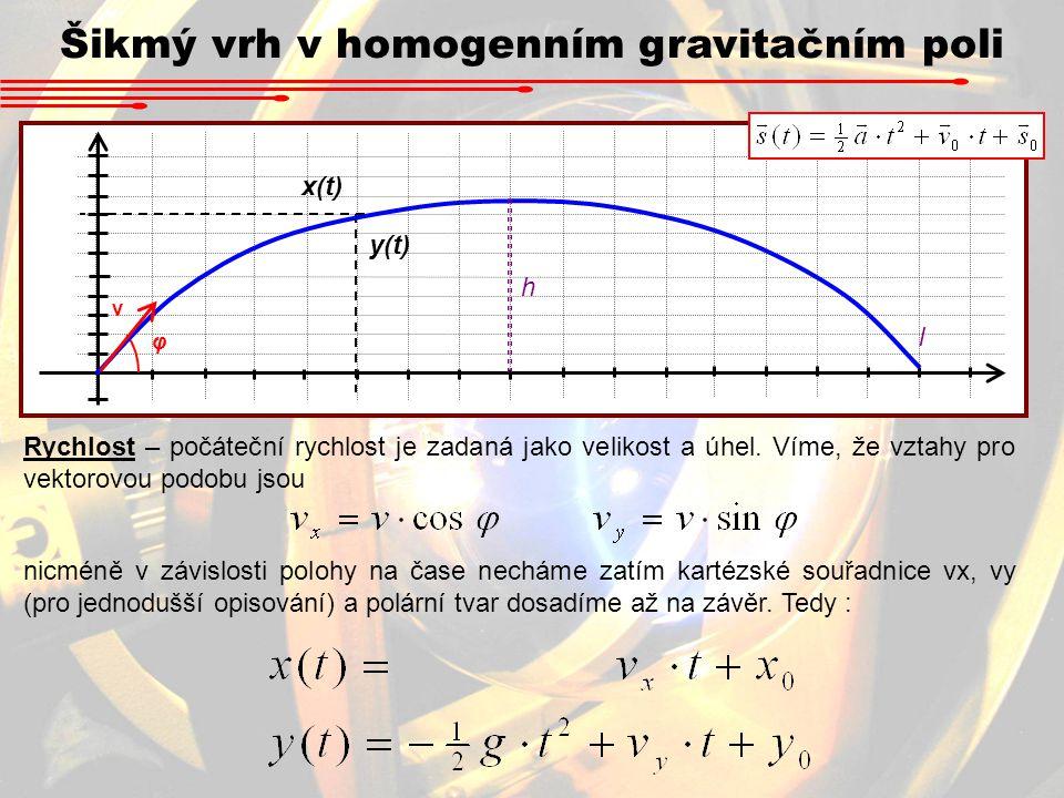 Šikmý vrh v homogenním gravitačním poli x(t) y(t) v φ h l Rychlost – počáteční rychlost je zadaná jako velikost a úhel. Víme, že vztahy pro vektorovou