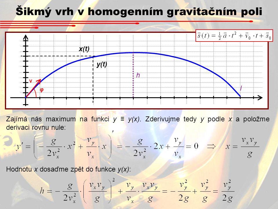 Šikmý vrh v homogenním gravitačním poli x(t) y(t) v φ h l Zajímá nás maximum na funkci y ≡ y(x). Zderivujme tedy y podle x a položme derivaci rovnu nu