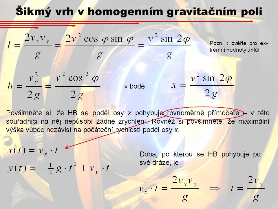 Šikmý vrh v homogenním gravitačním poli v bodě Doba, po kterou se HB pohybuje po své dráze, je Povšimněte si, že HB se podél osy x pohybuje rovnoměrně