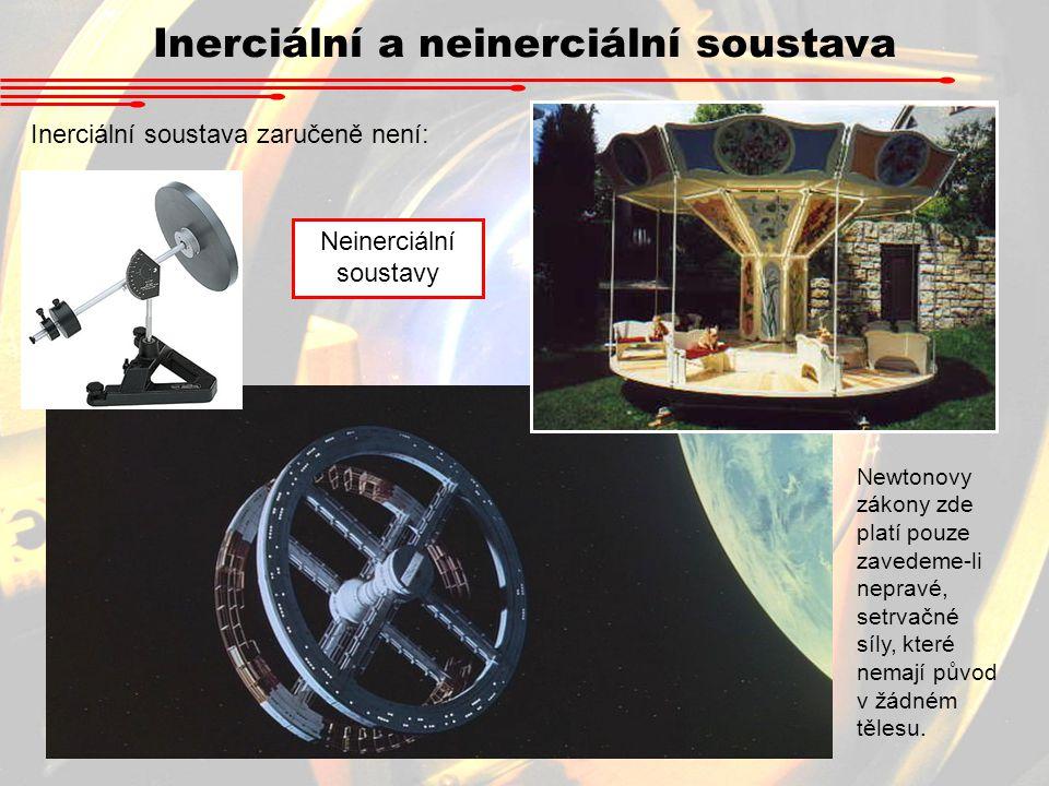Inerciální a neinerciální soustava Inerciální soustava zaručeně není: Neinerciální soustavy Newtonovy zákony zde platí pouze zavedeme-li nepravé, setr