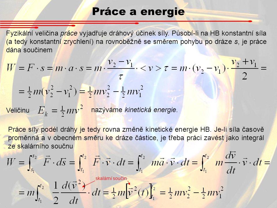 Práce a energie Fyzikální veličina práce vyjadřuje dráhový účinek síly. Působí-li na HB konstantní síla (a tedy konstantní zrychlení) na rovnoběžně se