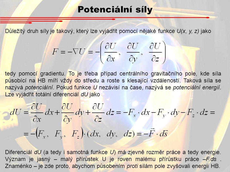 Potenciální síly Důležitý druh síly je takový, který lze vyjádřit pomocí nějaké funkce U(x, y, z) jako tedy pomocí gradientu. To je třeba případ centr