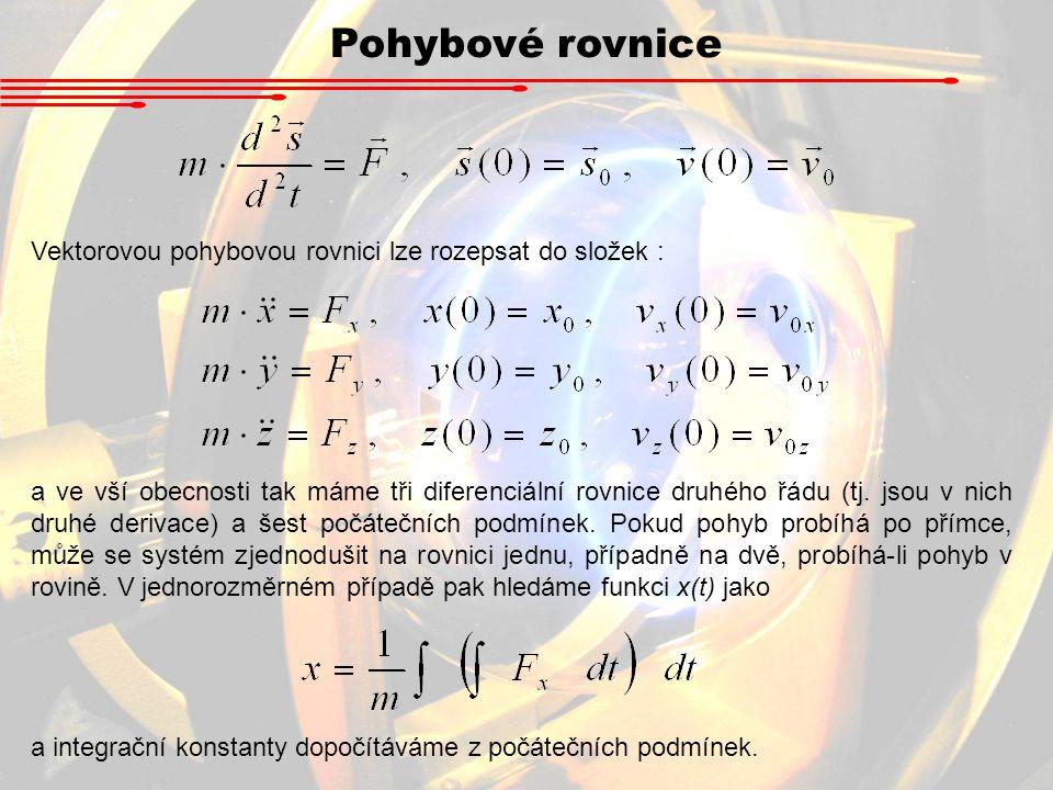 Pohybové rovnice Vektorovou pohybovou rovnici lze rozepsat do složek : a ve vší obecnosti tak máme tři diferenciální rovnice druhého řádu (tj. jsou v
