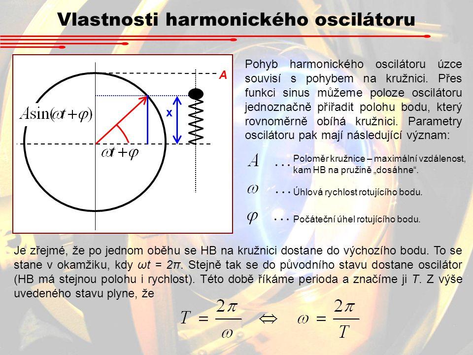 Vlastnosti harmonického oscilátoru x A Pohyb harmonického oscilátoru úzce souvisí s pohybem na kružnici. Přes funkci sinus můžeme poloze oscilátoru je