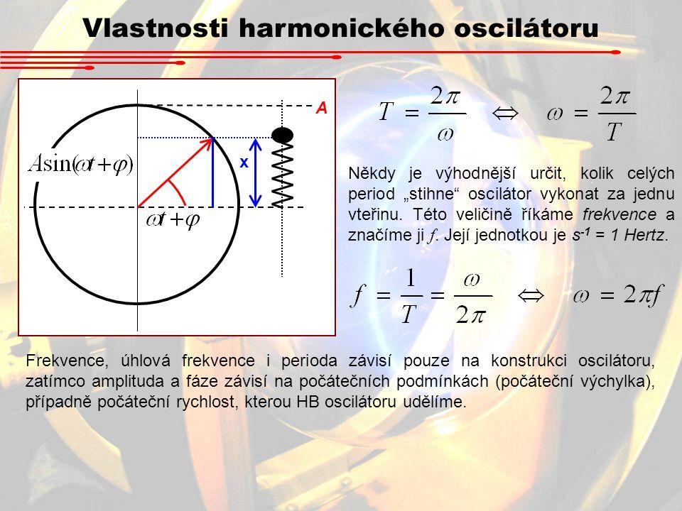"""Vlastnosti harmonického oscilátoru x A Někdy je výhodnější určit, kolik celých period """"stihne"""" oscilátor vykonat za jednu vteřinu. Této veličině říkám"""