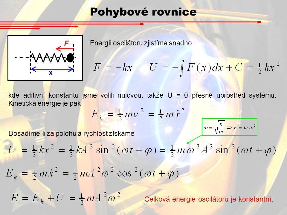 Pohybové rovnice x F Energii oscilátoru zjistíme snadno : kde aditivní konstantu jsme volili nulovou, takže U = 0 přesně uprostřed systému. Kinetická