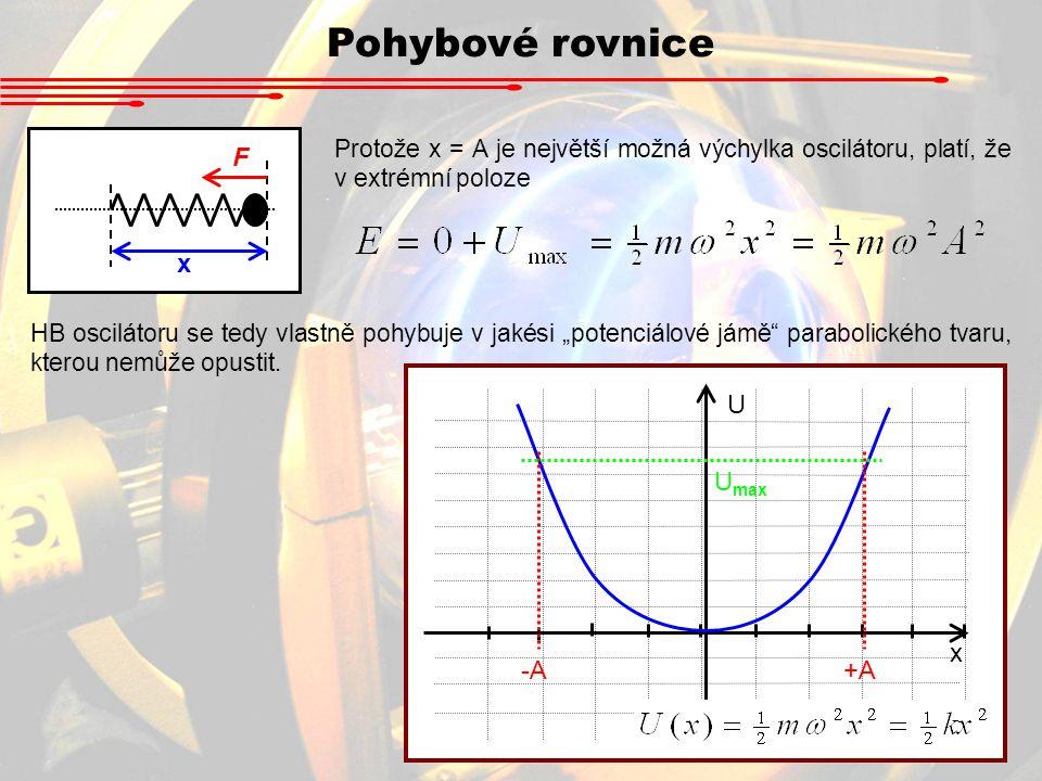Pohybové rovnice x F Protože x = A je největší možná výchylka oscilátoru, platí, že v extrémní poloze HB oscilátoru se tedy vlastně pohybuje v jakési