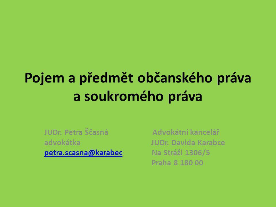 Soukromé právo je odvětvím českého práva základní pilíře tvoří občanské a obchodní právo stěžejní význam má ochrana práv jednotlivce, osobních, majetkových práv