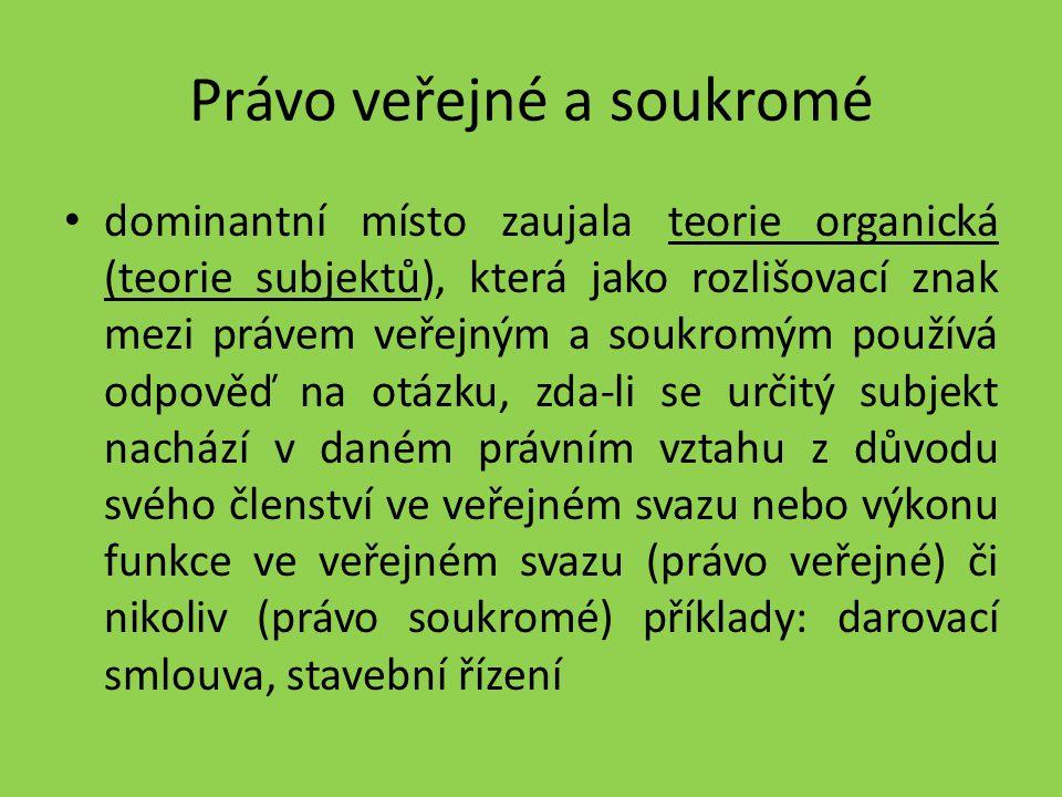 Právo veřejné a soukromé dominantní místo zaujala teorie organická (teorie subjektů), která jako rozlišovací znak mezi právem veřejným a soukromým pou