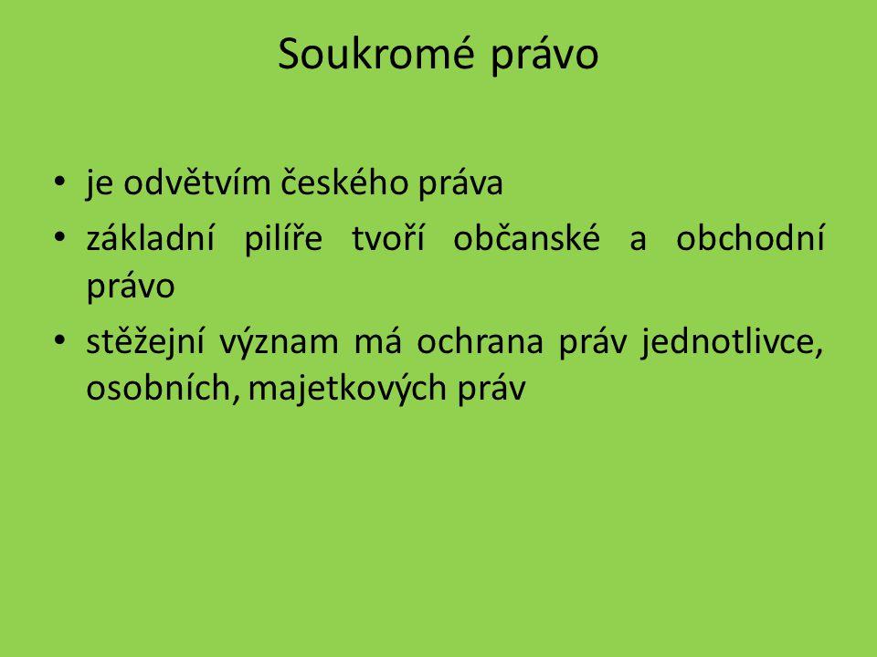 Soukromé právo je odvětvím českého práva základní pilíře tvoří občanské a obchodní právo stěžejní význam má ochrana práv jednotlivce, osobních, majetk