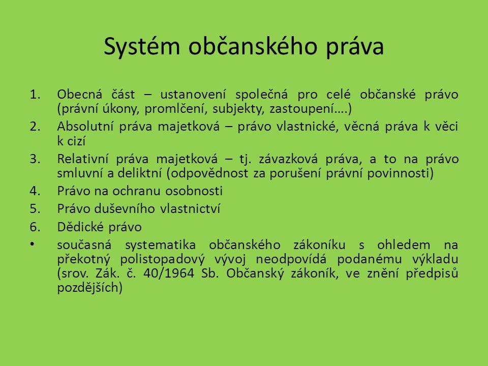 Systém občanského práva 1.Obecná část – ustanovení společná pro celé občanské právo (právní úkony, promlčení, subjekty, zastoupení….) 2.Absolutní práv
