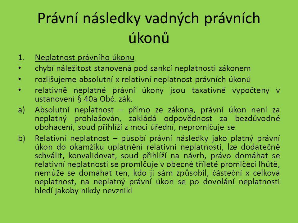 Právní následky vadných právních úkonů 1.Neplatnost právního úkonu chybí náležitost stanovená pod sankcí neplatnosti zákonem rozlišujeme absolutní x r