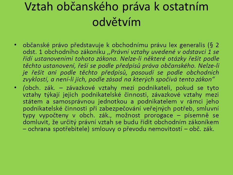 Vztah občanského práva k ostatním odvětvím subsidiární platnost občanského zákoníku platí i vůči zákoníku práce (např.