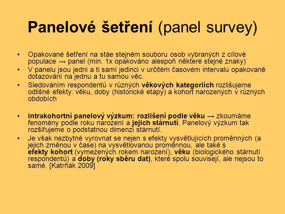 Panelové šetření (panel survey) Opakované šetření na stáe stejném souboru osob vybraných z cílové populace → panel (min. 1x opakováno alespoň některé