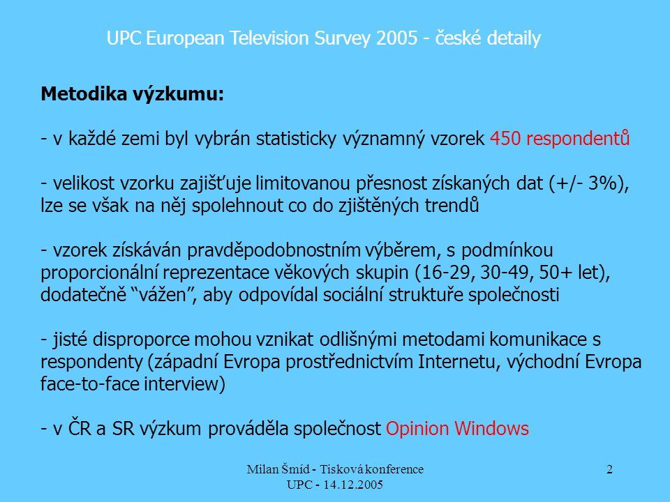 Milan Šmíd - Tisková konference UPC - 14.12.2005 2 UPC European Television Survey 2005 - české detaily Metodika výzkumu: - v každé zemi byl vybrán statisticky významný vzorek 450 respondentů - velikost vzorku zajišťuje limitovanou přesnost získaných dat (+/- 3%), lze se však na něj spolehnout co do zjištěných trendů - vzorek získáván pravděpodobnostním výběrem, s podmínkou proporcionální reprezentace věkových skupin (16-29, 30-49, 50+ let), dodatečně vážen , aby odpovídal sociální struktuře společnosti - jisté disproporce mohou vznikat odlišnými metodami komunikace s respondenty (západní Evropa prostřednictvím Internetu, východní Evropa face-to-face interview) - v ČR a SR výzkum prováděla společnost Opinion Windows