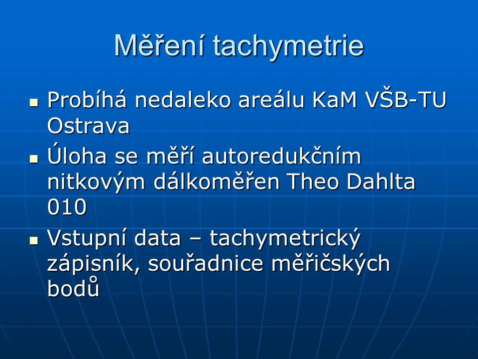 Měření tachymetrie Probíhá nedaleko areálu KaM VŠB-TU Ostrava Probíhá nedaleko areálu KaM VŠB-TU Ostrava Úloha se měří autoredukčním nitkovým dálkoměř