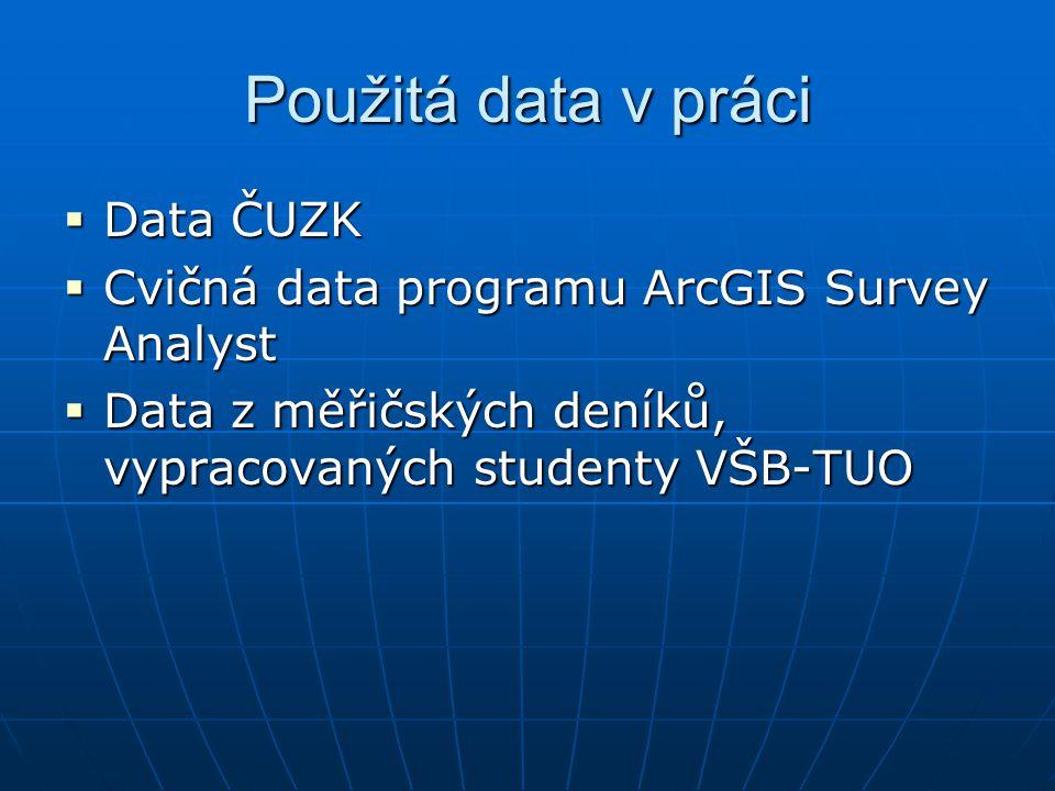 Použitá data v práci  Data ČUZK  Cvičná data programu ArcGIS Survey Analyst  Data z měřičských deníků, vypracovaných studenty VŠB-TUO