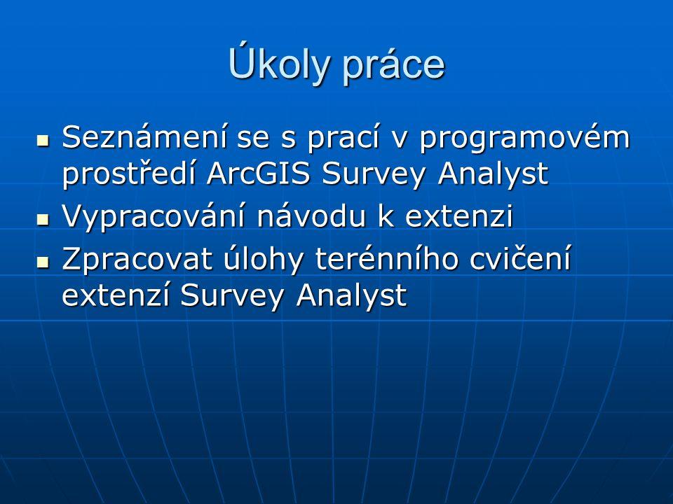 Úkoly práce Seznámení se s prací v programovém prostředí ArcGIS Survey Analyst Seznámení se s prací v programovém prostředí ArcGIS Survey Analyst Vypr
